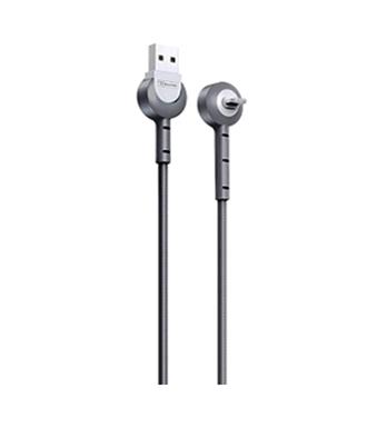 Cabo de Dados  USB Reforçado Cotovelo  Iphone 5 5c 5s 5g 6g 6s 7g 7g Plus Ipad Mini Cinza Xs-008